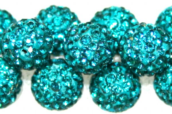 8mm Teal 70 Stone  Pave Crystal Beads- Half Drilled  PCBHD08-070-008